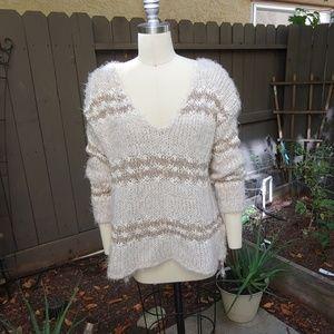 Free People oversized check sweater sz Small